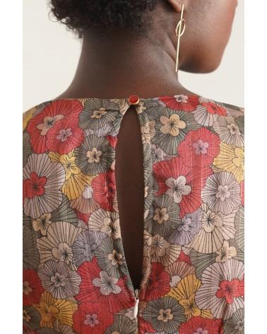 robe motifs fleurs et volants