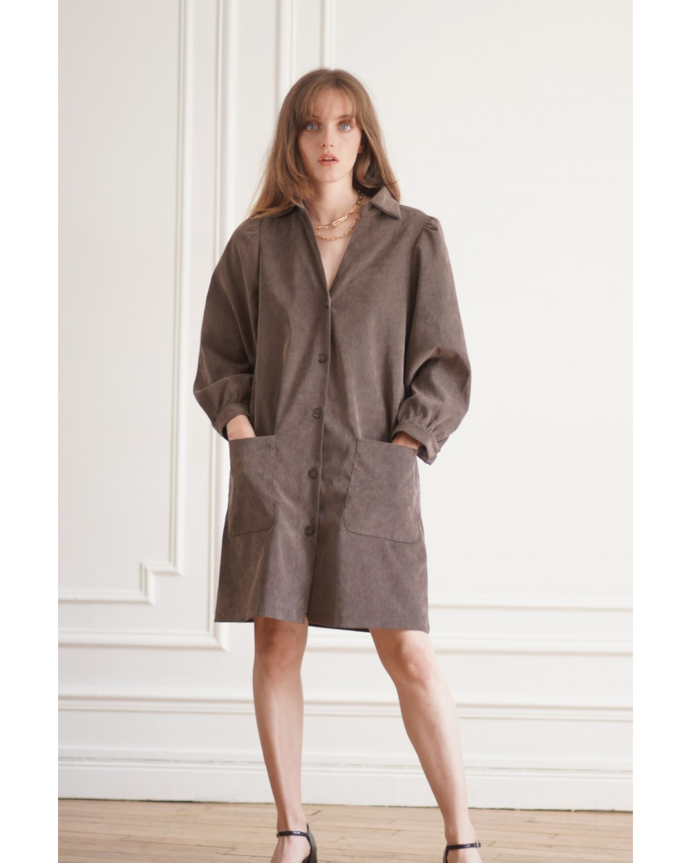 Robe marron style écolier