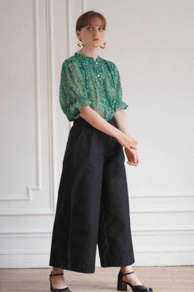 Pantalon noir en gabardine