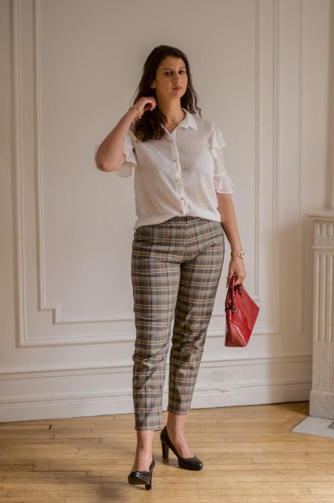 Pantalon stretch à carreaux