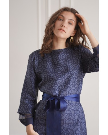Robe longue bleu col rond