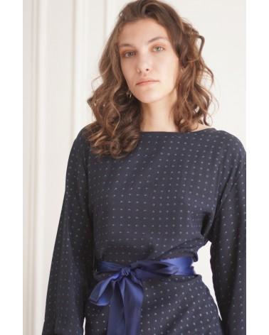 Robe bleu col rond